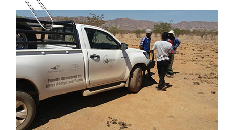 Cliff Tjitundi is conducting a human and livestock settlement survey as part of baseline data collection to improve HWC management in Kunene